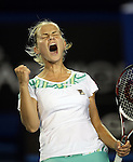 Jelena Dokic (AUS)  celebrates a vital point in her 4th round match against Alisa Kleybanova (RUS) on day 7 of the Australian Open Tennis , 25-1-09