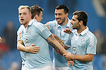 Celta de Vigo's John Guidetti, Nemanja Radoja, Gustavo Cabral and Jonny Castro celebrate goal during Spanish Kings Cup match. January 27,2016. (ALTERPHOTOS/Acero)