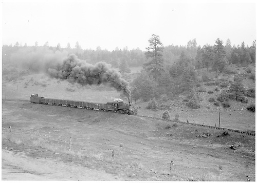 RGS #20 hauling four gondolas and caboose in Porter / Pine Ridge area.<br /> RGS  Pine Ridge - Porter area, CO