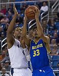 San Jose State guard Brian Rodriguez-Flores (33) shoots against Nevada forward  Tre'Shawn Thurman (0) in the second half of an NCAA college basketball game in Reno, Nev., Wednesday, Jan. 9, 2019. (AP Photo/Tom R. Smedes)