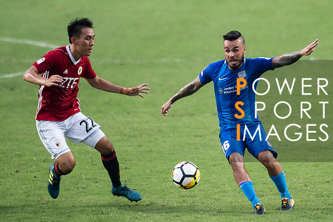 SC Kitchee Midfielder Lum Jared Christopher (R) in action against Chun Ming Wu of Pegasus (L) during the week three Premier League match between Hong Kong Pegasus and Kitchee at Hong Kong Stadium on September 17, 2017 in Hong Kong, China. Photo by Marcio Rodrigo Machado / Power Sport Images