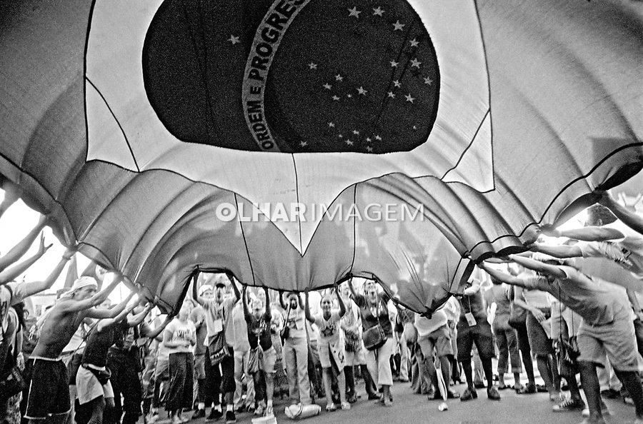 Manifestaçao do Forum Social Mundial. Porto Alegre. Rio Grande do Sul. 2002. Foto de Joao Roberto Ripper.