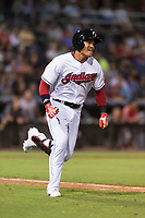 AFL West second baseman Yu Chang (9), of the Glendale Desert Dogs and Cleveland Indians organization, hustles down the first base line on his way to a two-run triple during the Fall Stars game at Surprise Stadium on November 3, 2018 in Surprise, Arizona. The AFL West defeated the AFL East 7-6 . (Zachary Lucy/Four Seam Images)