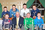 Castleisland AFC top goalscorers that received their trophies from Republic of Ireland legend Don Givens at the Castleisland AFC annual awards night in the River Island Hotel, Castleisland on Thursday night front row l-r: front row l-r: Jack Cooney, Don Givens, Georgie O'Callaghan, Sean Brosnan. Back row Colm Murphy, Denis Lenihan, Mike Hannafin and Adam Barry