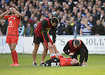 Toby Flood of Toulouse receives treatment - European Rugby Champions Cup - Bath Rugby vs Toulouse - Recreation Ground Bath - Season 2014/15 - October 25th 2014 - <br /> Photo Malcolm Couzens/Sportimage