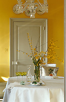In a yellow and grey dining room a Baccarat crystal chandelier hangs above an arrangement of winter jasmine in a glass vase on the round table beneath