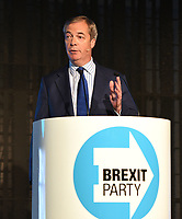Nigel Farage Brexit Party Rally at Queen Elizabeth 11 Centre, Broad Sanctuary, Westminster, London on Friday 18 October 2018<br /> <br /> Photo by Vivienne Vincent