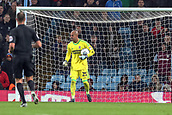 12th September 2017, Villa Park, Birmingham, England; EFL Championship football, Aston Villa versus Middlesbrough; Darren Randolph of Middlesbrough shouts at his defence