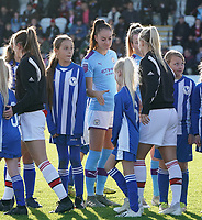 20191027 - Boreham Wood: Manchester City's Tessa Wullaert is pictured with the player escorts at line up at the start of the Barclays FA Women's Super League match between Arsenal Women and Manchester City Women on October 27, 2019 at Boreham Wood FC, England. PHOTO:  SPORTPIX.BE | SEVIL OKTEM