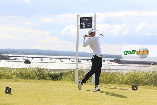 Riccardo Leo (ITA) on the 15th tee during Round 1 of the The Amateur Championship 2019 at The Island Golf Club, Co. Dublin on Monday 17th June 2019.<br /> Picture:  Thos Caffrey / Golffile<br /> <br /> All photo usage must carry mandatory copyright credit (© Golffile | Thos Caffrey)