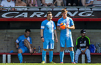 Paul Danan & Dan Olsen of Celeb FC watch the match during the 'Greatest Show on Turf' Celebrity Event - Once in a Blue Moon Events at the London Borough of Barking and Dagenham Stadium, London, England on 8 May 2016. Photo by Andy Rowland.