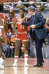 30 MAR 1981:  Indiana University coach Bobby Knight barks directions to his star guard Isiah Thomas (11) during the 1981 NCAA Final Four Championship game against North Carolina in Philadelphia, PA at the Spectrum.  Indiana defeated North Carolina 63-50 for the title.  Photo Copyright Rich Clarkson