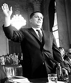 "Washington, DC - June 7, 1959 - Teamsters President James R. (Jimmy) Hoffa is sworn in before his testimony before the Senate Committee investigating Union Racketeering in Washington, DC on June 7, 1959.<br /> Credit: Benjamin E. ""Gene"" Forte"