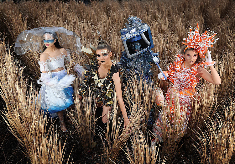 No Repro Fee.<br /> Junk Kouture announces partnership with RTÉ<br /> <br /> Enda Lyons (left) with Ava Murphy Howard, both from Loreto College, St. Stephen's Green, Dublin and Rose Mesquita and Madison Rafferty, from Larkin Community College, Dublin, pictured wearing outfits from last year's Junk Kouture final at the announcement that RTÉ and RTÉ 2FM are to join forces with Ireland's leading recycled fashion and design competition, Junk Koutureare. RTÉ and RTÉ 2FM are to join forces with Ireland's leading recycled fashion and design competition, Junk Kouture which celebrates its ten-year anniversary. The new partnership with RTÉ will see RTÉ 2FM's podcast queens, Laura Fox and Emma Power, hosts of popular Unlocked with Laura and Emma host the grand finale in the 3Arena on Thursday 30th April, while 2FM DJ Tara Stewart will DJ on stage at the event. This year will also see the introduction of an RTÉ 2FM Junk Kouture Wildcard, where one lucky entrant from each of the five regions will be chosen by Ireland's national music station to compete alongside 75 other national finalists. Pic. Robbie Reynolds