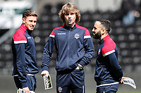 Bolton Wanderers' Joe Pritchard, Luca Connell and Erhun Oztumer pictured before the match <br />