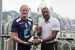 playonPROS's Colin Hendry (L) and Viv Anderson (R) pose for a photograph in front of Hong Kong's urban landscape to celebrate the launch of the HKFC Citi Soccer Sevens 2017 on 25 May 2017 in Causeway Bay, Hong Kong, China. Photo by Chris Wong / Power Sport Images