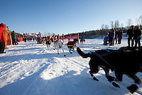 Seiji Takagi leaves the start line of the Junior Iditarod  at Knik Lake, Knik, Alaska