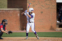 Cody Oerther (35) of the High Point Panthers at bat against the NJIT Highlanders during game one of a double-header at Williard Stadium on February 18, 2017 in High Point, North Carolina.  The Panthers defeated the Highlanders 11-0.  (Brian Westerholt/Four Seam Images)