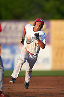 Auburn Doubledays second baseman Jake Jefferies (10) running the bases during a game against the Williamsport Crosscutters on June 25, 2016 at Falcon Park in Auburn, New York.  Auburn defeated Williamsport 5-4.  (Mike Janes/Four Seam Images)