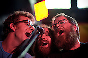"""""""Those boys sure do harmonize,"""" Megafaun plays Hometapes' Friend Island day party at the Pour House during the Hopscotch Music Festival in Raleigh, N.C., Friday, Sept. 10, 2010."""