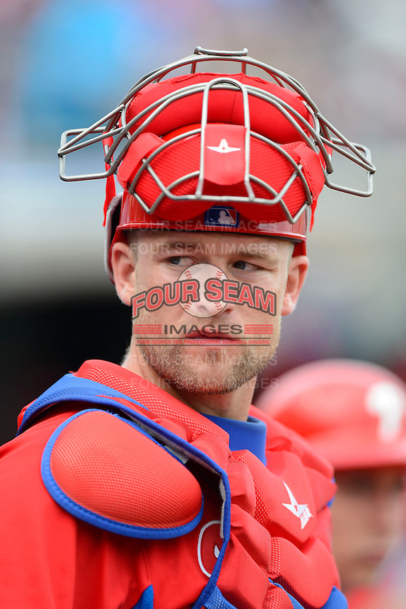 Philadelphia Phillies catcher Steven Lerud #39 before a Spring Training game against the New York Yankees at Bright House Field on February 26, 2013 in Clearwater, Florida.  Philadelphia defeated New York 4-3.  (Mike Janes/Four Seam Images)