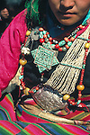 Shigatse, Tibet, a Tibetan woman with traditional jewelry
