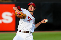Wisconsin Timber Rattlers pitcher Aaron Ashby (17) warms up in the outfield prior to a Midwest League game against the Burlington Bees on August 3, 2018 at Fox Cities Stadium in Appleton, Wisconsin. Wisconsin defeated Burlington 5-4. (Brad Krause/Four Seam Images)