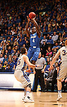 SIOUX FALLS, SD - MARCH 11:  Frank Gaines #4 from IPFW shoots over Chad White #25 from South Dakota State University in the first half of their semifinal game Monday night at the Summit League Basketball Tournament in Sioux Falls, SD.  (Photo by Dave Eggen/Inertia)