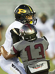 Torrance, CA 09/19/15 - Marcello Merola (Peninsula #8) and Robert Chacon (Torrance #13) in action during the Peninsula Panthers - Torrance Tartars Varsity football game at Torrance High School