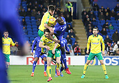 1st December 2017, Cardiff City Stadium, Cardiff, Wales; EFL Championship Football, Cardiff City versus Norwich City; Sol Bamba of Cardiff City gets up over Wesley Hoolahan of Norwich City to head the cross
