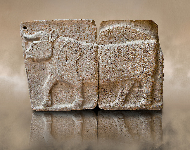 Late Hittite (Aramaean)  Basalt relief sculpture of a Bull from 9th Cent B.C, excavated from the west side of the citadel gate of Sam'al (Hittite: Yadiya) located at Zincirli Höyük in the Anti-Taurus Mountains of modern Turkey's Gaziantep Province. Istanbul Archaeological Museum Inv. No 7709.