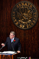 TALLAHASSEE, FLA. 3/4/14-Senate President Don Gaetz, R-Niceville, speaks during the opening day of the legislative session, March 4, 2014 at the Capitol in Tallahassee.<br /> <br /> COLIN HACKLEY PHOTO