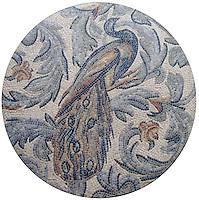 40 inch Roman African Peacock with Acanthus Leaves in hand chopped tumbled Verde Luna, Verde Alpi, Bardiglio, Botticino, Travertine Noce, Nero Marquina, Rosa Verona, Giallo Reale, Renaissance Bronze, Emperador Dark, Travertine White, Blue Bahia