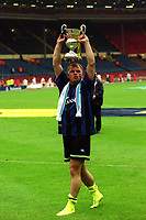 Manchester City's Andy Morrison celebrates after their penalty shoot-out victory with the Division Two Play-Off Trophy during Manchester City vs Gillingham, Nationwide League Division Two Football at Wembley Stadium on 30th May 1999