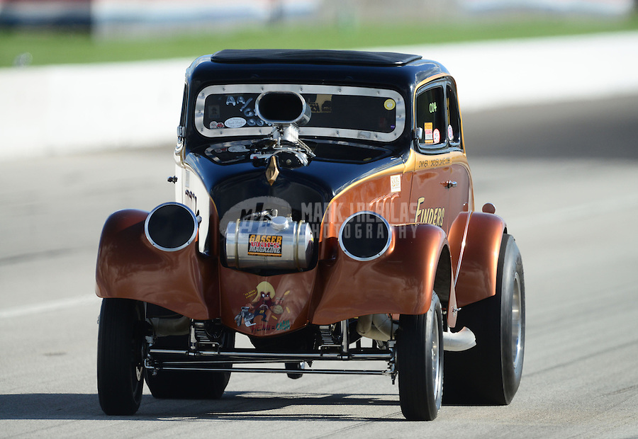 Sept 8, 2012; Clermont, IN, USA: NHRA gasser driver Dave Cobb during qualifying for the US Nationals at Lucas Oil Raceway. Mandatory Credit: Mark J. Rebilas-