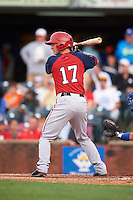 Hagerstown Suns second baseman Brennan Middleton (17) at bat during a game against the Lexington Legends on May 22, 2015 at Whitaker Bank Ballpark in Lexington, Kentucky.  Lexington defeated Hagerstown 5-1.  (Mike Janes/Four Seam Images)