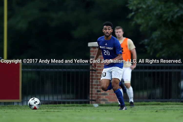 ELON, NC - SEPTEMBER 02: Presbyterian's Andrew Miller-Bell. The Elon University Phoenix hosted the Presbyterian College Blue Hose on September 2, 2017 at Rudd Field in Elon, NC in a Division I college soccer game. Elon won the game 2-0.