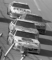 Rusty Wallace 27 Geoff Bodine 5 Sterling Marlin 94 Alan Kulwicki 7 action draft Winston 500 at Talladega Superspeedway in Talladega , AL in May 1989.  (Photo by Brian Cleary/www.bcpix.com)
