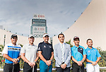 Patrick Reed of USA, Ian Poulter and Danny Willett of England , Liang wenchong of China and Humphrey Wong of Hong Kong pose for media at the Cultural Centre Kowloon against the city' skyline ahead the 58th UBS Hong Kong Open as part of the European Tour on 6 December 2016, in Hong Kong, China. Photo by Victor Fraile / Power Sport Images
