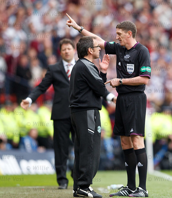 Hibs manager Pat Fenlon is sent to the stand by referee Craig Thomson