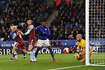 Pepe Reina of Aston Villa saves a header from Jonny Evans of Leicester City during the Premier League match at the King Power Stadium, Leicester. Picture date: 9th March 2020. Picture credit should read: Darren Staples/Sportimage