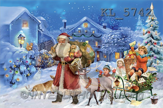 Interlitho, Patricia, CHRISTMAS SANTA, SNOWMAN, paintings, santa, dog, rabbit(KL5742,#X#) Weihnachtsmänner, Schneemänner, Weihnachen, Papá Noel, muñecos de nieve, Navidad, illustrations, pinturas