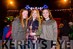 Enjoying the New Year's Eve fireworks Spectacular in Denny Street were Maeve O Sullivan, Mia Dudney and Sadie O'Sullivan