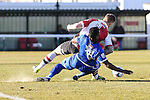 Match action during the Vanamara Conference League match between Woking and Grimsby Town at the Kingfield Stadium, Woking, Surrey<br /> Picture by David Horn/eXtreme aperture photography +44 7545 970036<br /> 07/03/2015