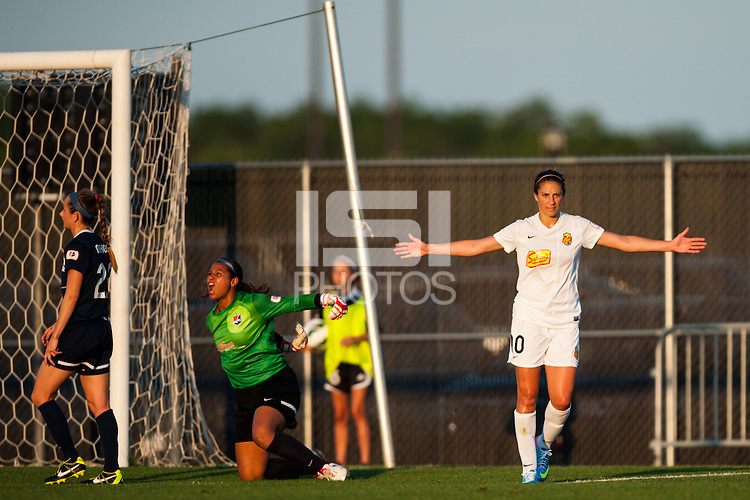 Western New York Flash midfielder Carli Lloyd (10) celebrates scoring. The Western New York Flash defeated Sky Blue FC 3-0 during a National Women's Soccer League (NWSL) match at Yurcak Field in Piscataway, NJ, on June 8, 2013.
