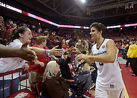 NWA Democrat-Gazette/BEN GOFF @NWABENGOFF<br /> Dusty Hannahs of Arkansas greets fans after Arkansas defeated Fort Wayne on Friday Nov. 11, 2016 at Bud Walton Arena in Fayetteville.