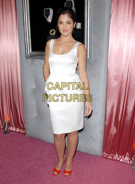 MINKA KELLY.The 7th Annual DIC and In Style Luncheon held at The Beverly Hills Hotel in Beverly Hills, California, USA..January 10th, 2008.full length red shoes open toe hand in pocket white silk satin dress.CAP/DVS.©Debbie VanStory/Capital Pictures