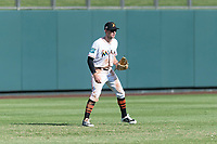 Salt River Rafters left fielder Brian Miller (10), of the Miami Marlins organization, during an Arizona Fall League game against the Surprise Saguaros at Salt River Fields at Talking Stick on October 23, 2018 in Scottsdale, Arizona. Salt River defeated Surprise 7-5 . (Zachary Lucy/Four Seam Images)