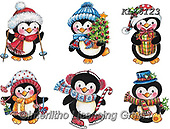 Interlitho-Theresa, CHRISTMAS ANIMALS, WEIHNACHTEN TIERE, NAVIDAD ANIMALES, paintings+++++,6 peinguins,KL6123,#xa# ,stickers