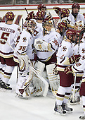 Parker Milner (BC - 35), Chris Venti (BC - 30) - The Boston College Eagles defeated the Merrimack College Warriors 4-3 on Friday, October 30, 2009, at Conte Forum in Chestnut Hill, Massachusetts.